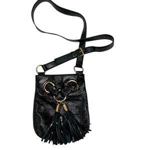 MICHALE KORS Black Patent Leather Tassel Crossbody